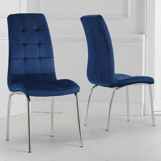 Califon Blue Velvet Dining Chairs In A Pair