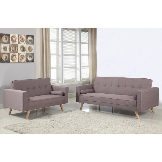 California Modern Fabric Sofa Bed In Grey And Wooden Legs_6