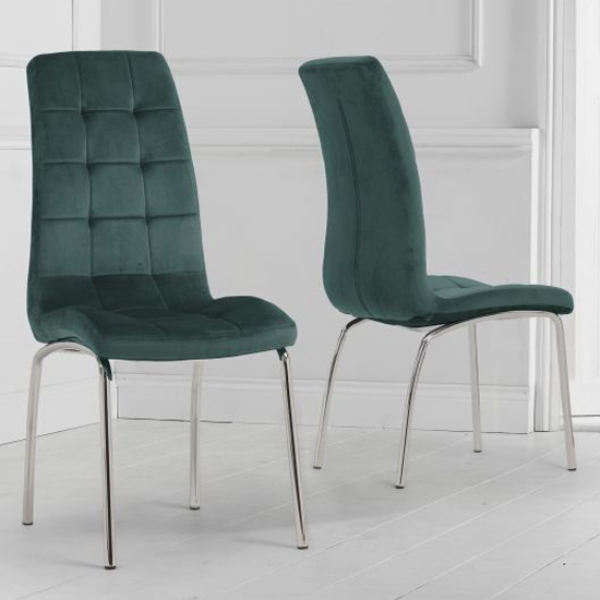 Califon Green Velvet Dining Chairs In A Pair