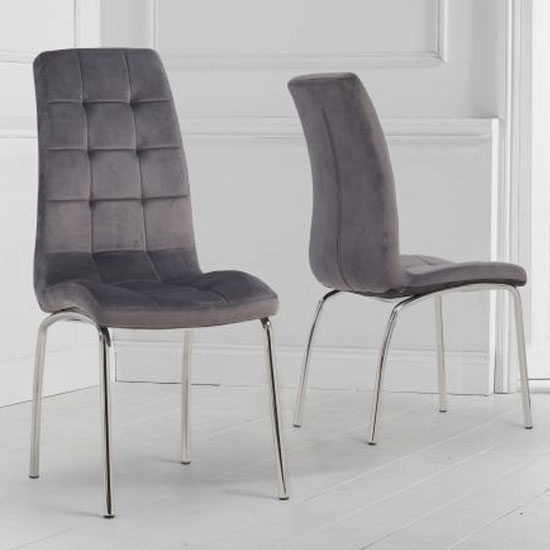 California Grey Velvet Dining Chairs In A Pair