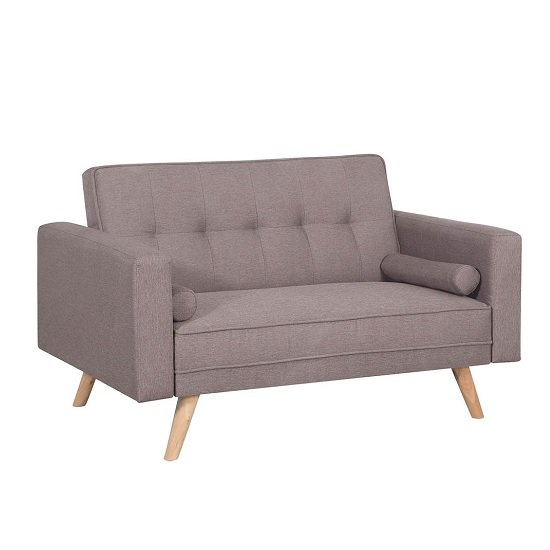 California Modern Fabric Sofa Bed In Grey And Wooden Legs_4
