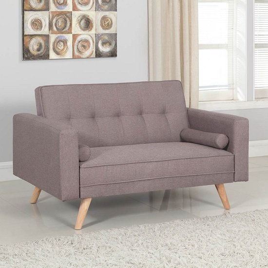 Product photograph showing California Modern Fabric Sofa Bed In Grey And Wooden Legs