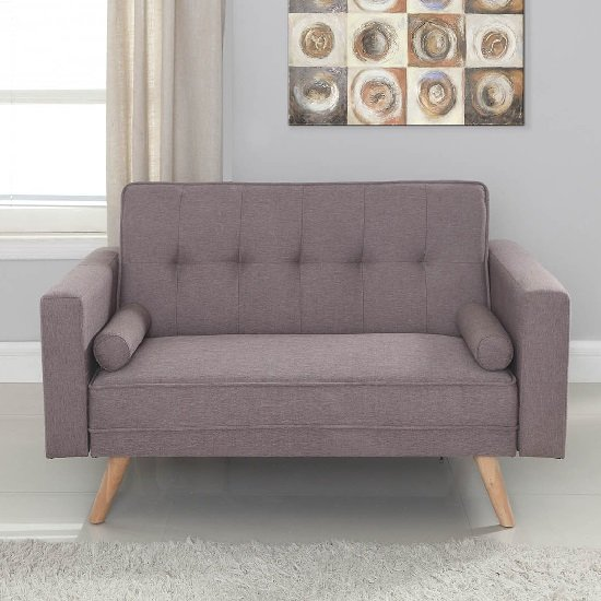 California Modern Fabric Sofa Bed In Grey And Wooden Legs_2