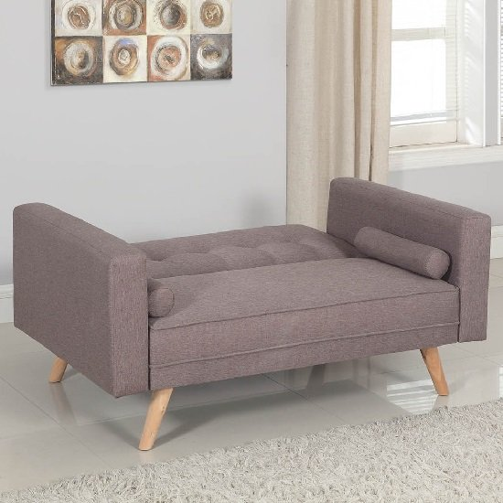 California Modern Fabric Sofa Bed In Grey And Wooden Legs_3