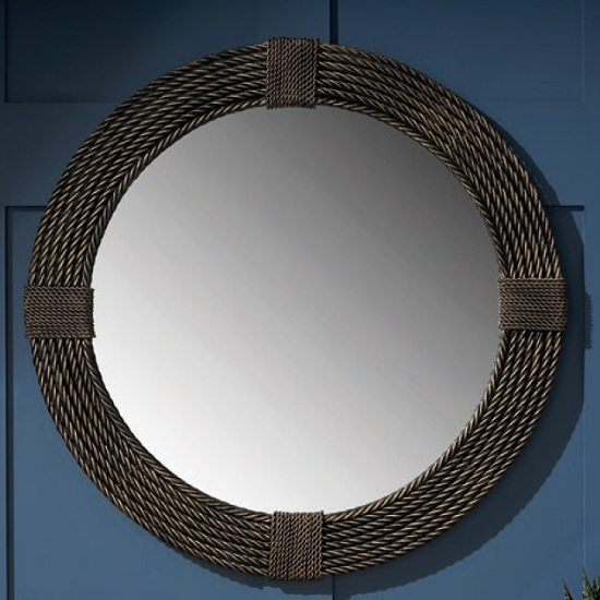 California Contemporary Wall Mirror Round In Brown