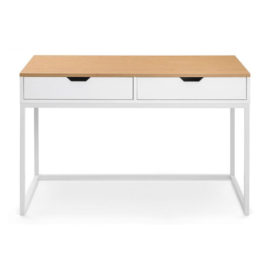 California Wooden Laptop Desk In White High Gloss And Oak_2