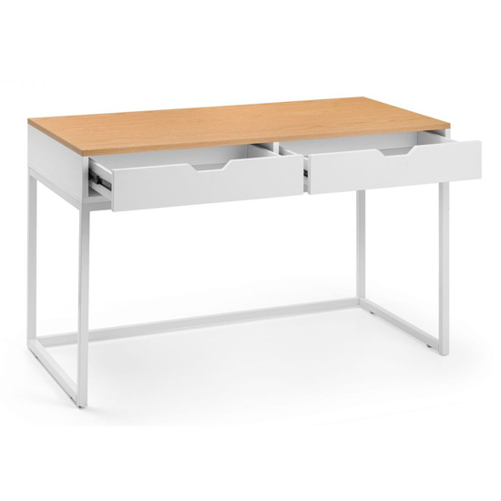California Wooden Laptop Desk In White High Gloss And Oak_3