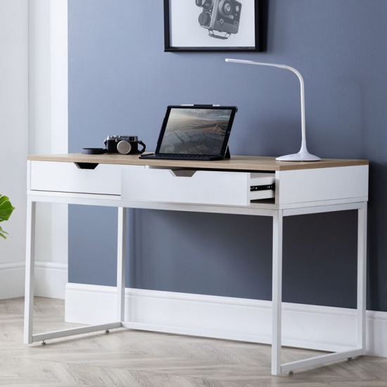 California Wooden Laptop Desk In White High Gloss And Oak_1