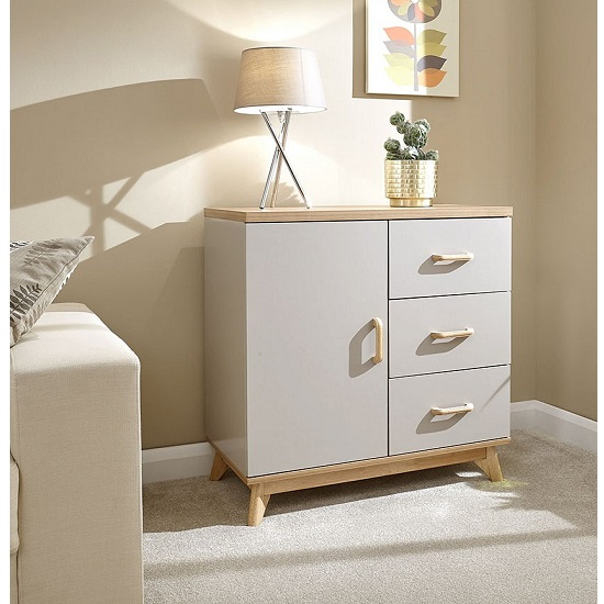 Calila Small Sideboard In Light Grey With 3 Drawers And 1 Door