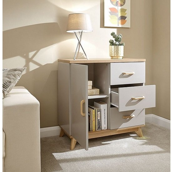 Calila Small Sideboard In Light Grey With 3 Drawers And 1 Door_2
