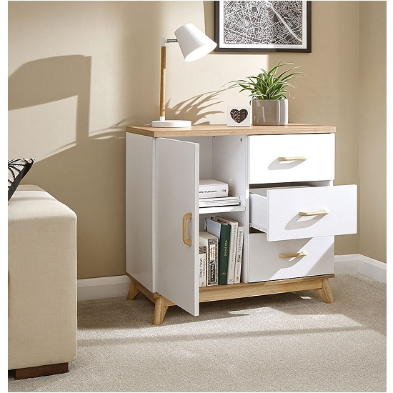 Calila Small Sideboard In White With 3 Drawers And 1 Door_2