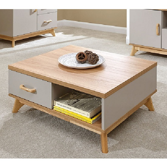 Calila Two Drawer Coffee Table In Oak And Light Grey