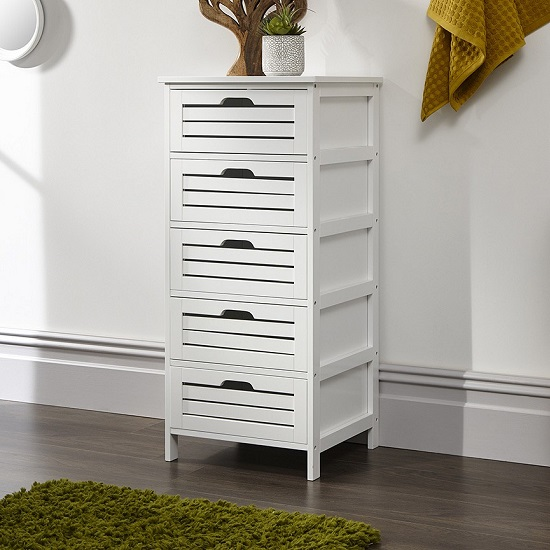 Calino Wooden Chest Of Drawers In White With 5 Drawers