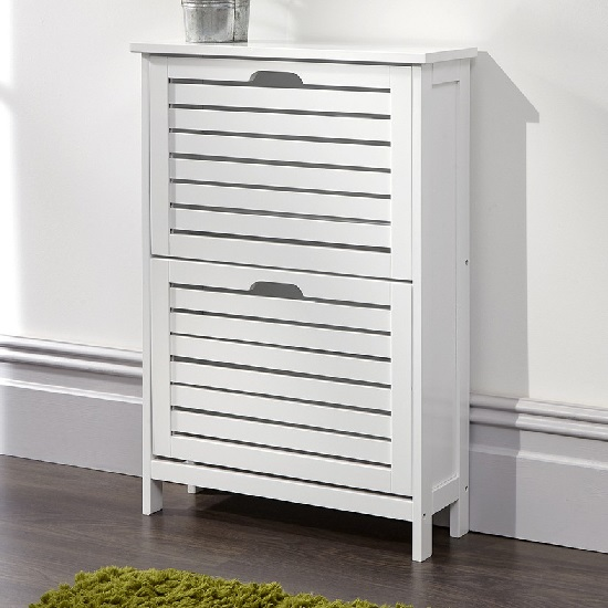 Calino Wooden Shoe Cabinet In White With 2 Flap Doors