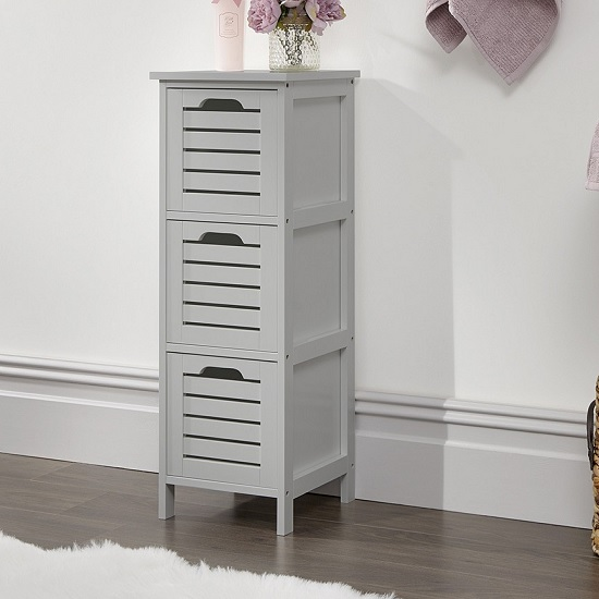 Calino Wooden Slim Chest Of Drawers In Grey With 3 Drawers