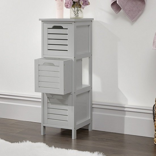 Calino Wooden Slim Chest Of Drawers In Grey With 3 Drawers_2