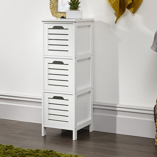 Calino Wooden Slim Chest Of Drawers In White With 3 Drawers