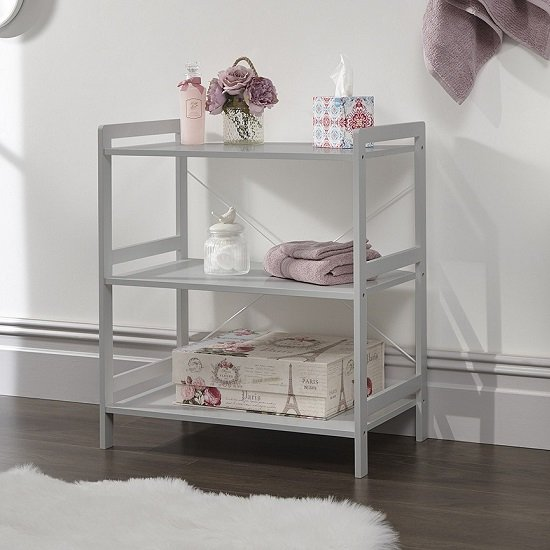 Calino Wooden 3 Tier Shelving Unit In Grey