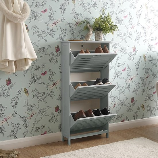 Calino Wooden 3 Tier Shoe Storage Cabinet In Grey_2