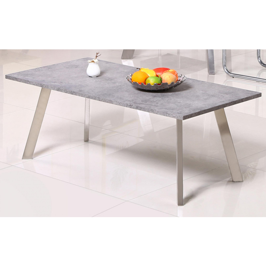 Calipso Concrete Coffee Table With Brushed Stainless Steel Legs
