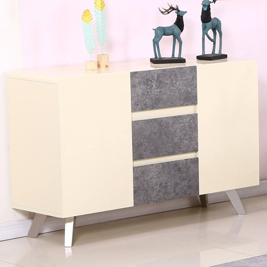 Calipso Concrete Sideboard In Cream High Gloss