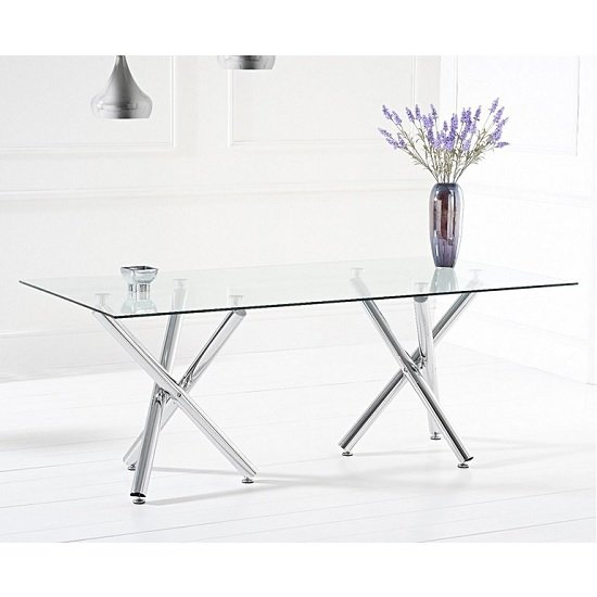Calisto Glass Dining Table Large In Clear With Chrome Legs