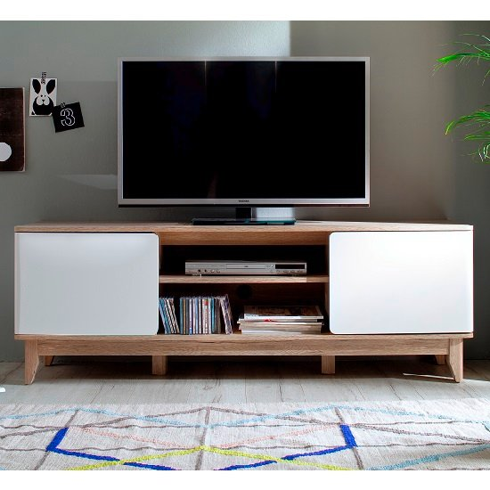 Callista Wooden TV Stand In Oak And Matt White With Storage_1