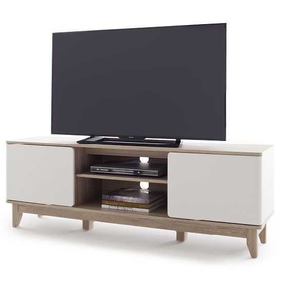 Callista Wooden TV Stand In Oak And Matt White With Storage_3
