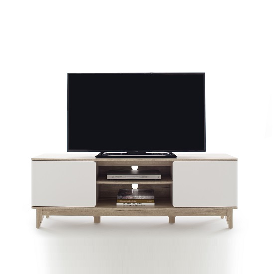 Callista Wooden TV Stand In Oak And Matt White With Storage_4