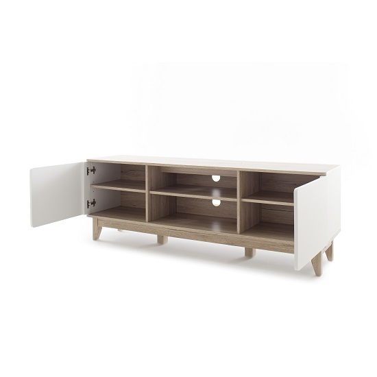 Callista Wooden TV Stand In Oak And Matt White With Storage_2