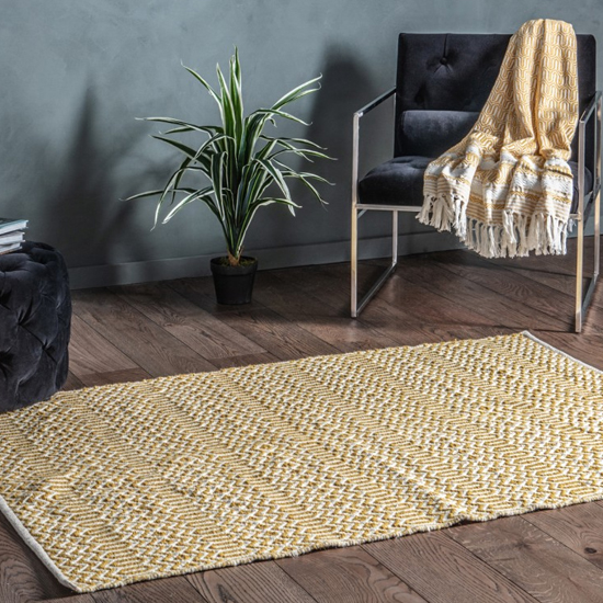 Callisto Bold Flat Weave Rug In Ochre And Cream