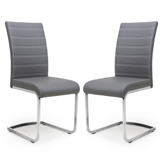Callisto Grey Leather Cantilever Dining Chair In A Pair