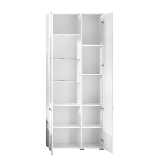 Callum Display Cabinet In White With High Gloss Fronts And LED_2