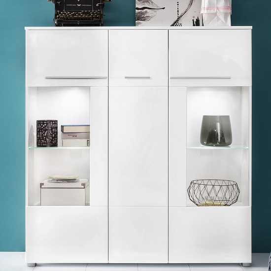 Callum Highboard In White With High Gloss Fronts And LED_3