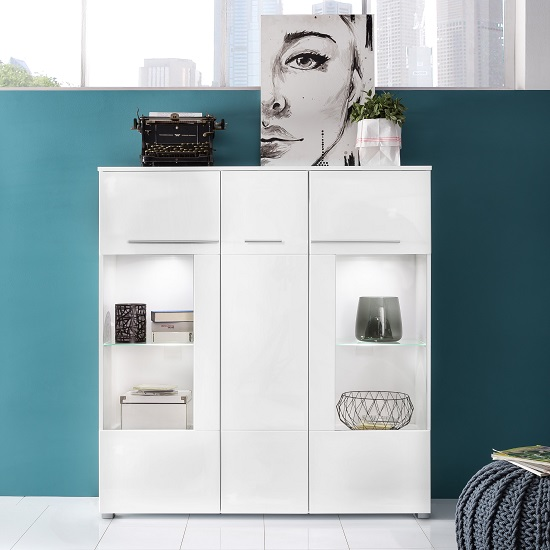 Read more about Callum highboard in white with high gloss fronts and led
