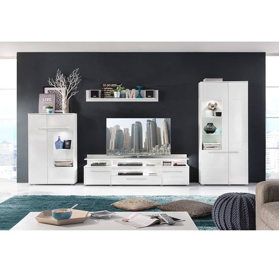 Callum Display Cabinet In White With High Gloss Fronts And LED_4