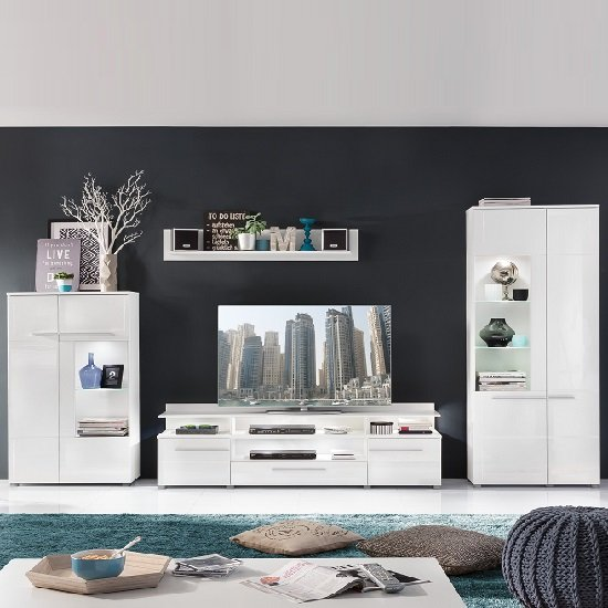 Callum Living Room Set 2 In White With Gloss Fronts And LED