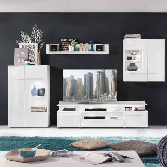 Read more about Callum living room set 3 in white with gloss fronts and led