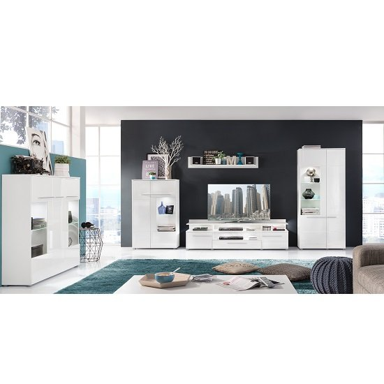Callum Display Cabinet In White With High Gloss Fronts And LED_3