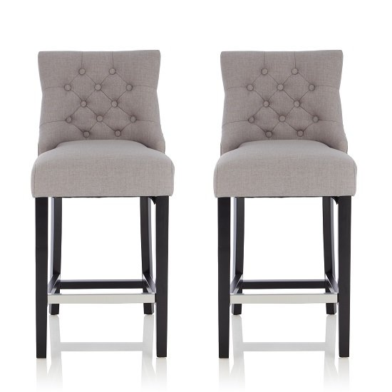 Calvia Bar Stools In Grey Fabric With Black Legs In A Pair