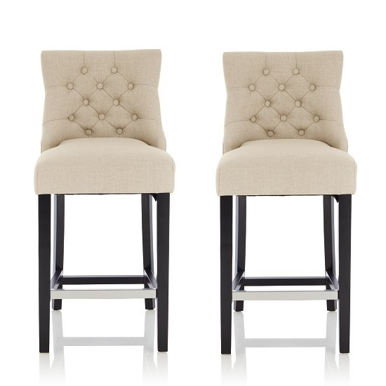 Calvia Bar Stools In Linen Fabric With Black Legs In A Pair