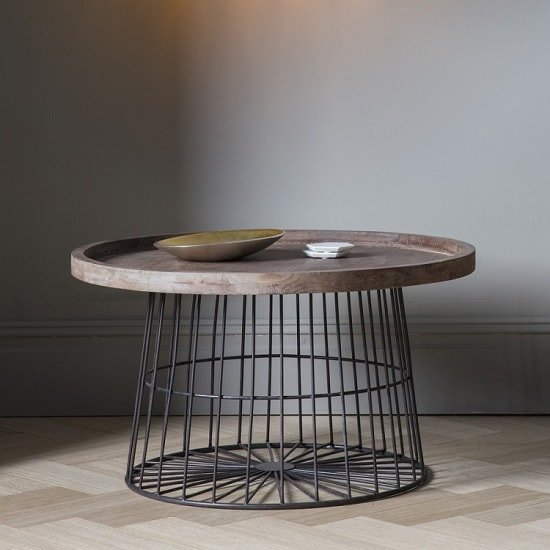 Calvia Wooden Coffee Table Round With Metal Legs