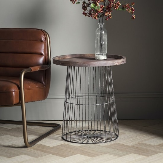 Calvia Wooden Side Table Round With Metal Legs