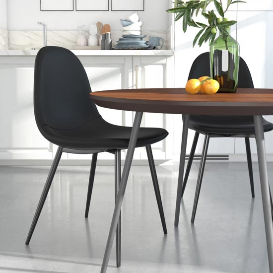 Calvin Black Faux Leather Dining Chairs In Pair