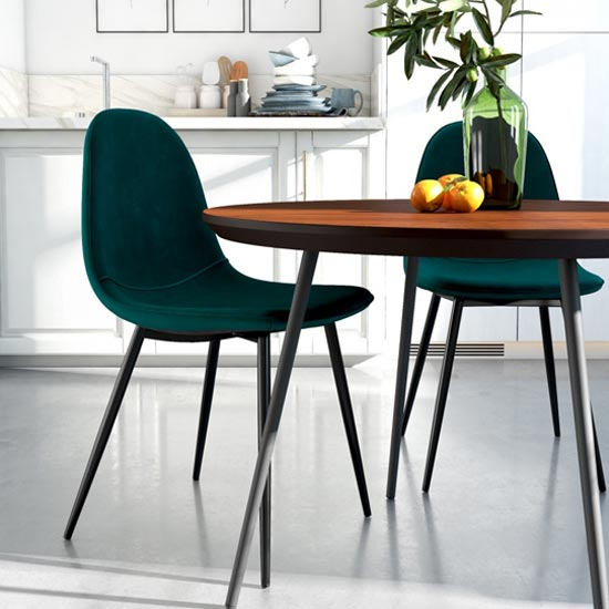 Calvin Green Velvet Dining Chairs In Pair