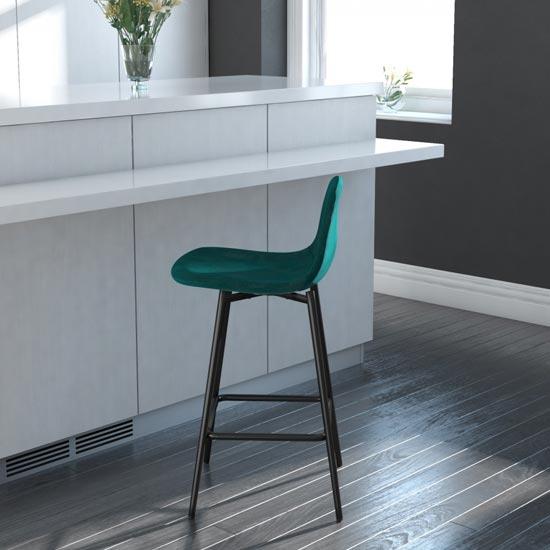 View Calvin velvet upholstered counter stool in green