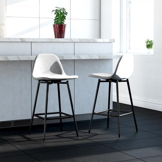 View Calvin velvet upholstered counter stool in grey