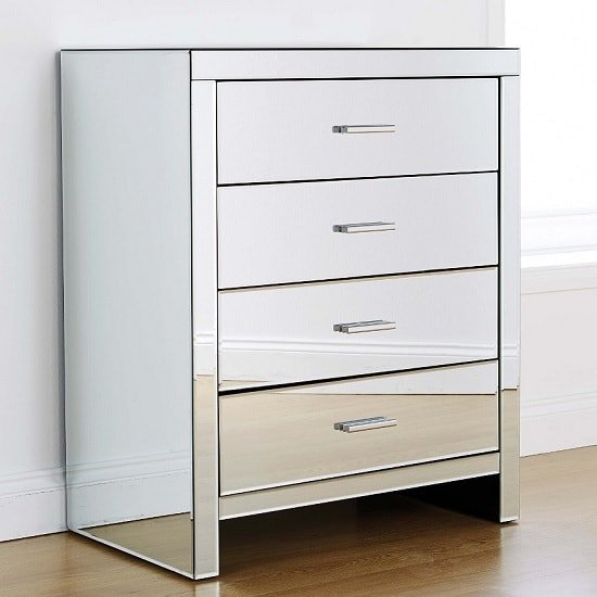Calypso Mirrored Chest Of Drawers With 4 Drawers
