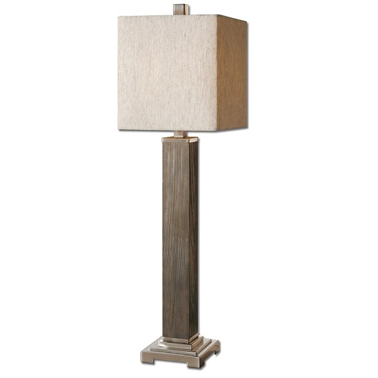 Calyx Contemporary Table Lamp In Taupe Fabric