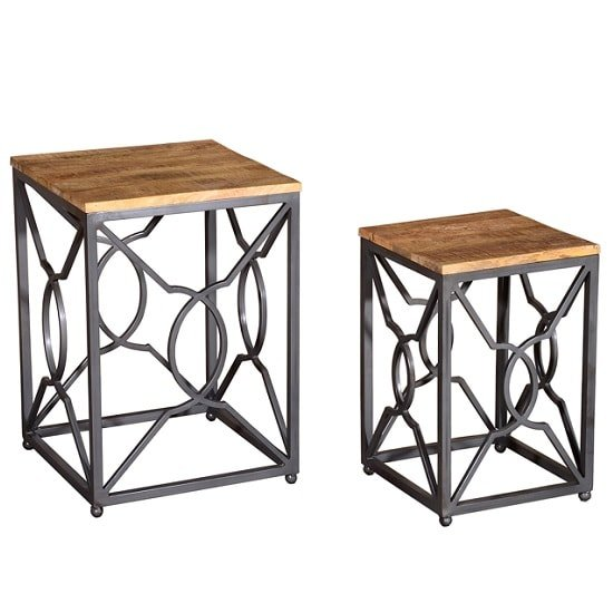 Cambourne Wooden Nest Of Tables In Acacia And Metal Frame